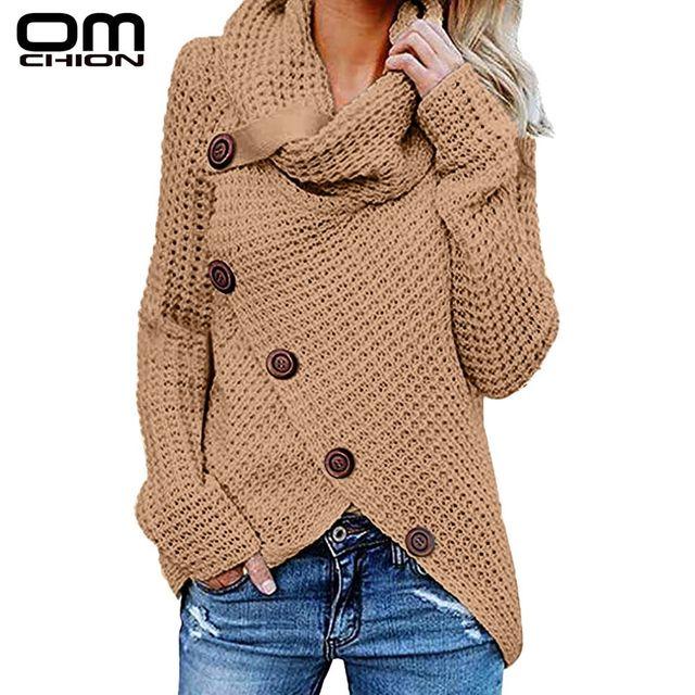 [해외] Omchion pull femme 2019 가을 겨울 터틀넥 버튼 스웨