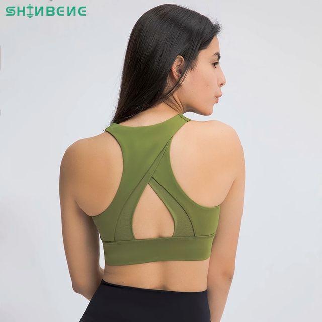 [해외] SHINBENE 높은 목 패딩 된 요가 훈련 스포츠 브래지어