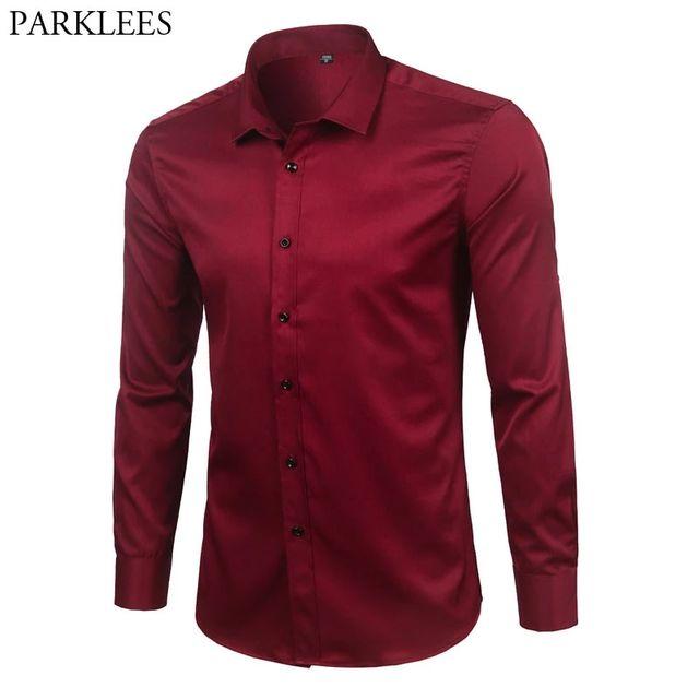 [해외] 브랜드 와인 레드 대나무 섬유 망 드레스 셔츠 슬림