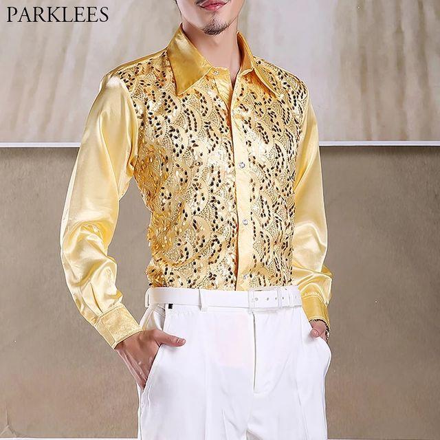 [해외] 반짝 이는 골드 스팽글 반짝이 긴 소매 셔츠 남자 201