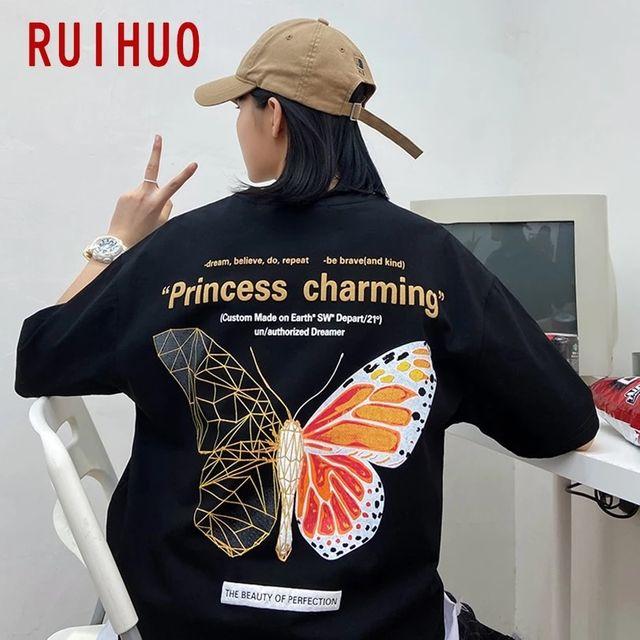 [해외] RUIHUO 나비 프린트 캐주얼 T 셔츠 남성 의류 일본 St