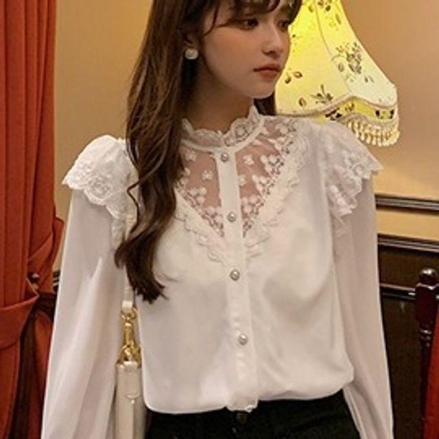 W 여성 레이스 블라우스 반하이넥 스타일리시 셔츠