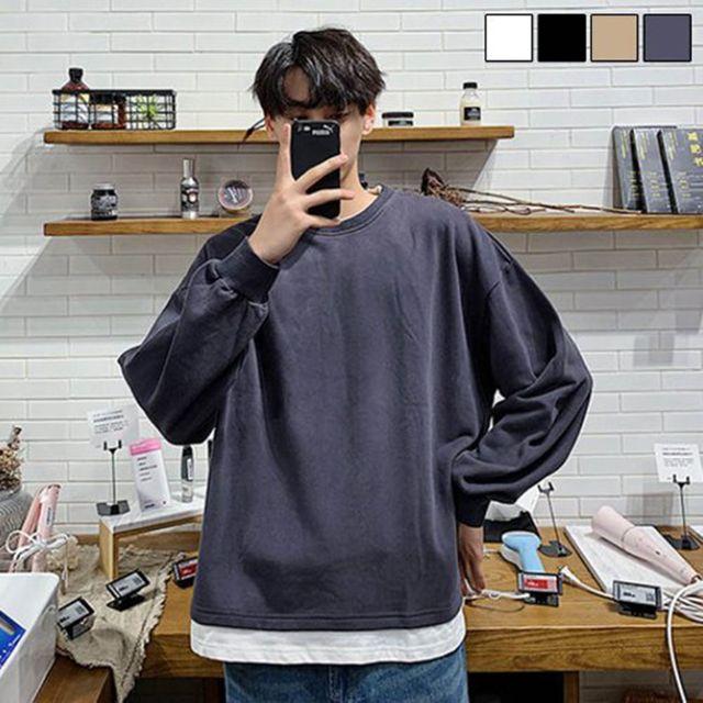 W 남자 레이어드 스타일 라운드넥 기본 긴팔 티셔츠