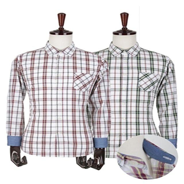 W 해지배색 타탄체크 셔츠 남성셔츠 포인트셔츠