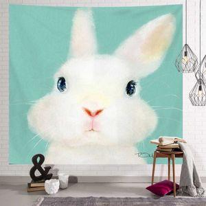 월 데코 벽 가림막 인테리어소품 민트 토끼 포스터