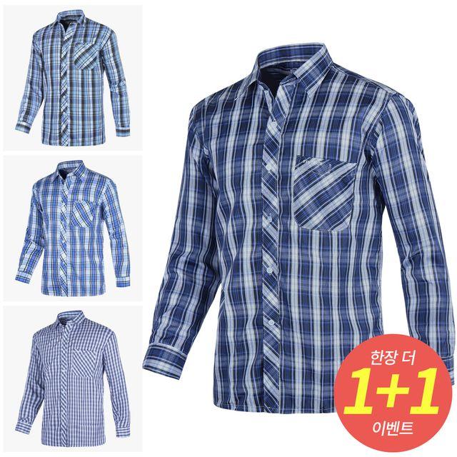 W (1+1)봄여름신상체크남방셔츠