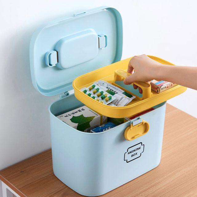 W 구급 박스 플라스틱 오픈 블루 수납합