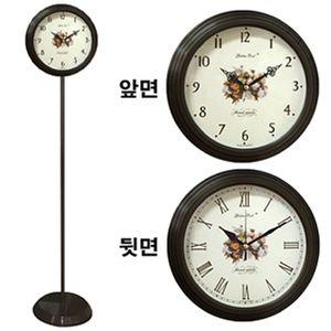GB6053 무소음 양면 스탠드시계 월넛 장미 메탈 한국