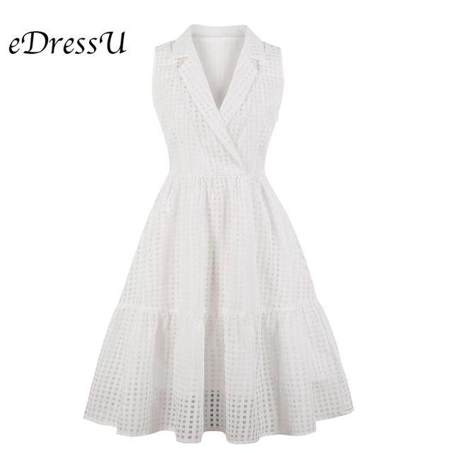 [해외] EDressU 화이트 셔츠 드레스 플러스 사이즈 1970 년대