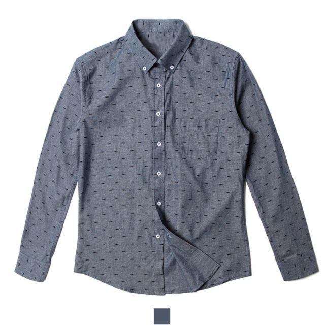 남자셔츠 물고기 패턴 네이비 긴팔 셔츠