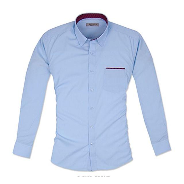 긴팔슬림 레드 체크 포인트 블루 셔츠