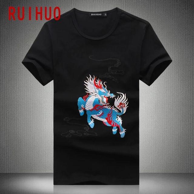 [해외] RUIHUO 기린 자수 화이트 T 셔츠 남성 의류 코튼 T 셔