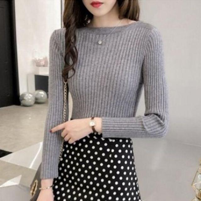 여성 라운드 보트넥 니트 티셔츠 여자 캐주얼 패션 옷
