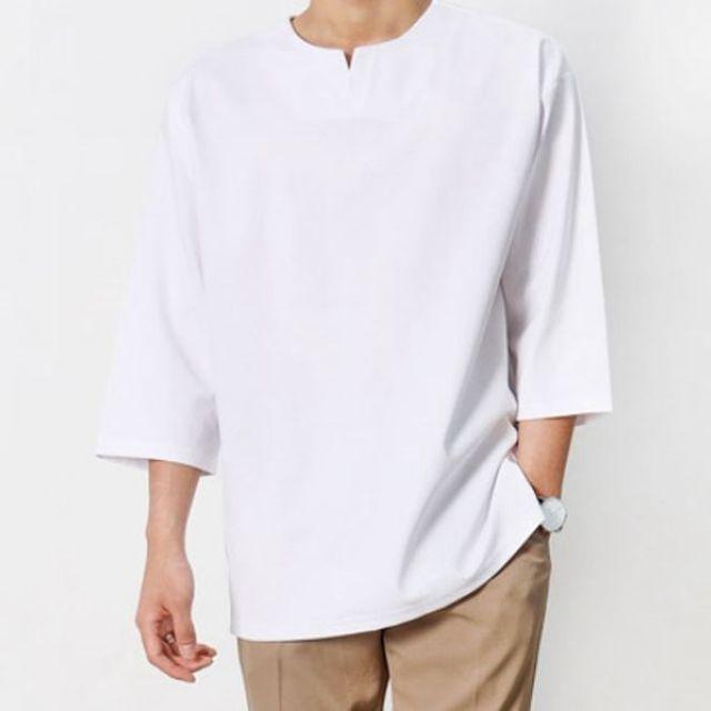 W 남성 7부 티셔츠 2색 오버핏 남자 상의 무지 티