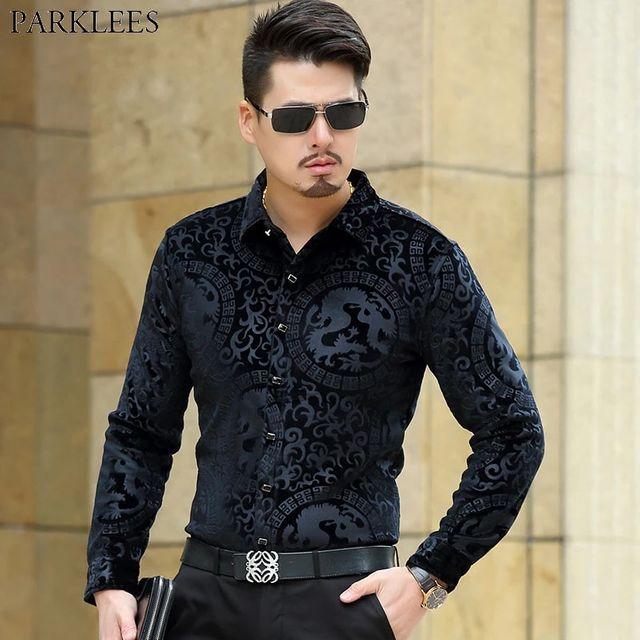 [해외] 중국어 드래곤 스탬핑 인쇄 검은 벨벳 셔츠 남자 2018