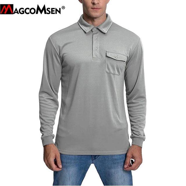[해외] MAGCOMSEN 새로운 남자 육군 군사 T 셔츠 봄 긴 소매