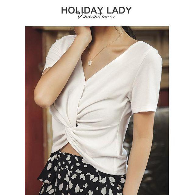 [해외] 여름 신상 여성 반팔 브이넥 오르숄드 티셔츠