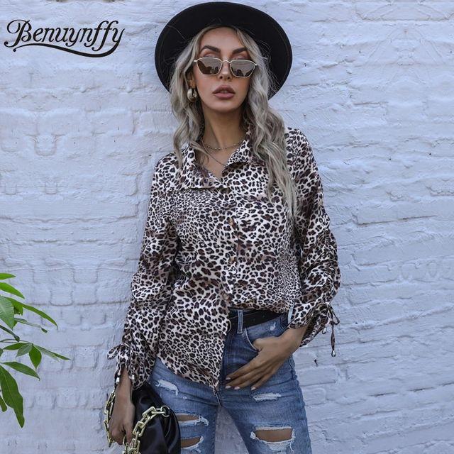 [해외] Benuynffy Turndown Collar Leopard Print 긴 소매 셔