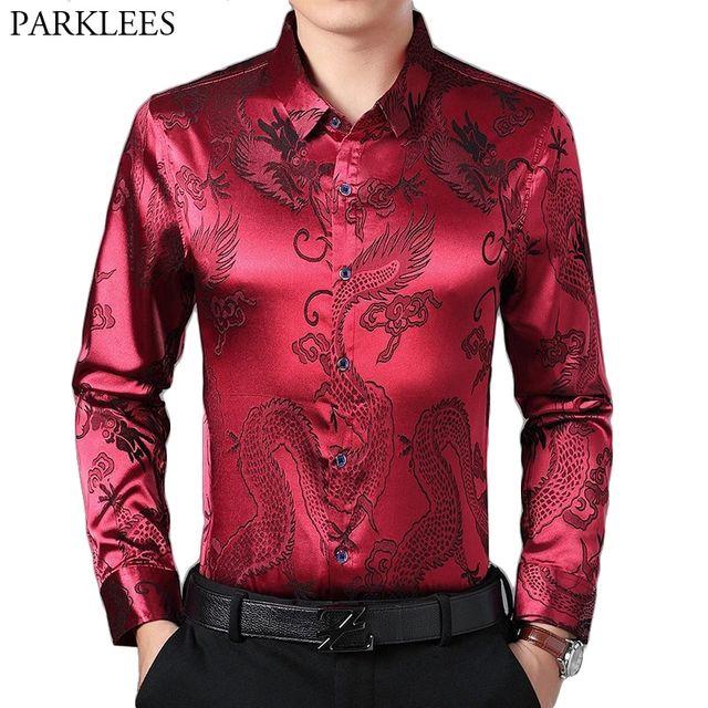 [해외] 와인 레드 부드러운 실크 새틴 셔츠 남자 2019 중국어