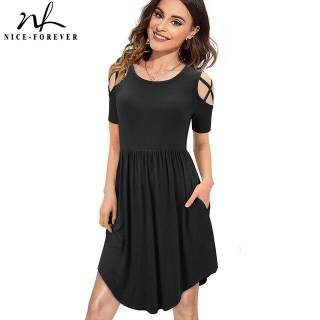 [해외] 니스-영원히 여름 여성 패션 콜드 숄더 드레스 캐주얼