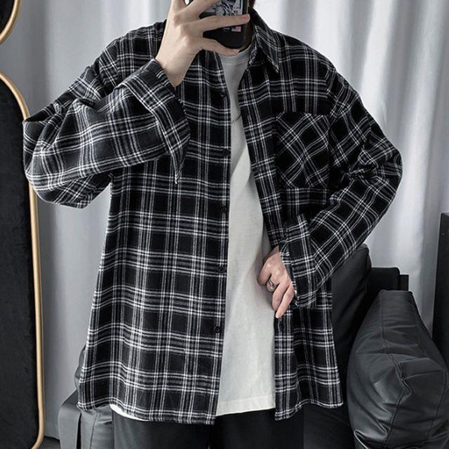 W 남성 캐주얼 오버핏 체크 셔츠 남방 남친룩 데일리룩