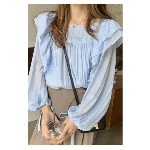 [해외] 소녀 쉬폰 벌룬소매 블라우스 솔리드 프릴장식 셔츠