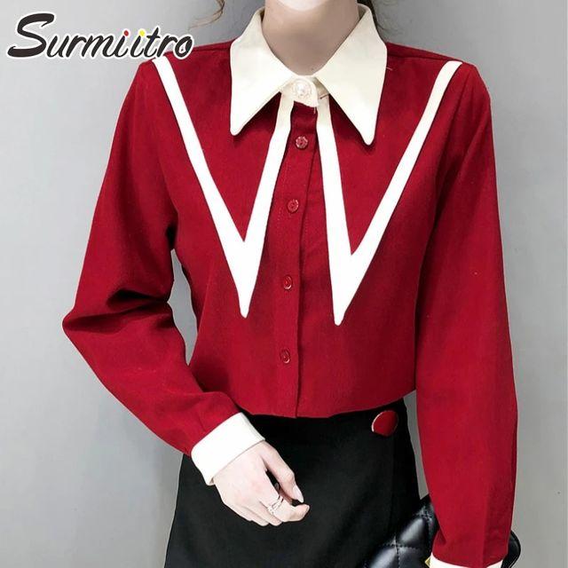 [해외] SURMIITRO 코듀로이 셔츠 여성 2021 봄 가을 겨울 빈