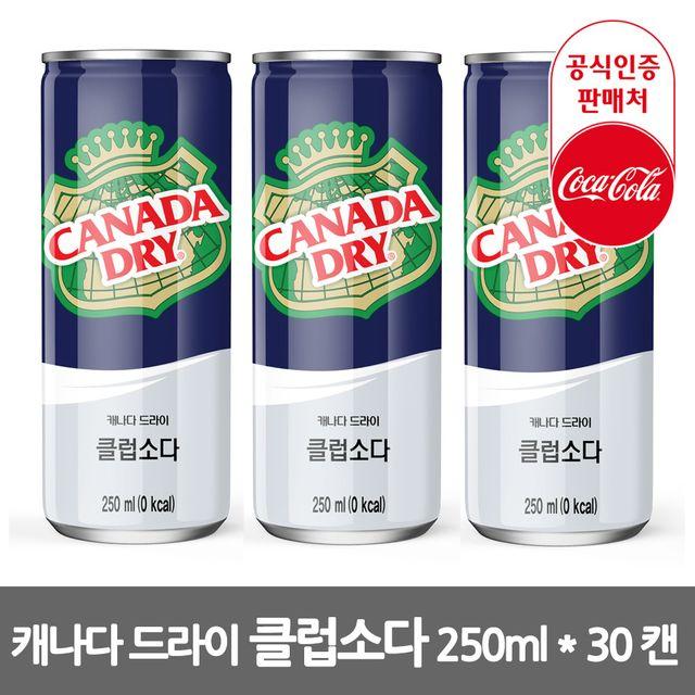 캐나다드라이 클럽소다 250ml 30캔 소다음료 음료박스