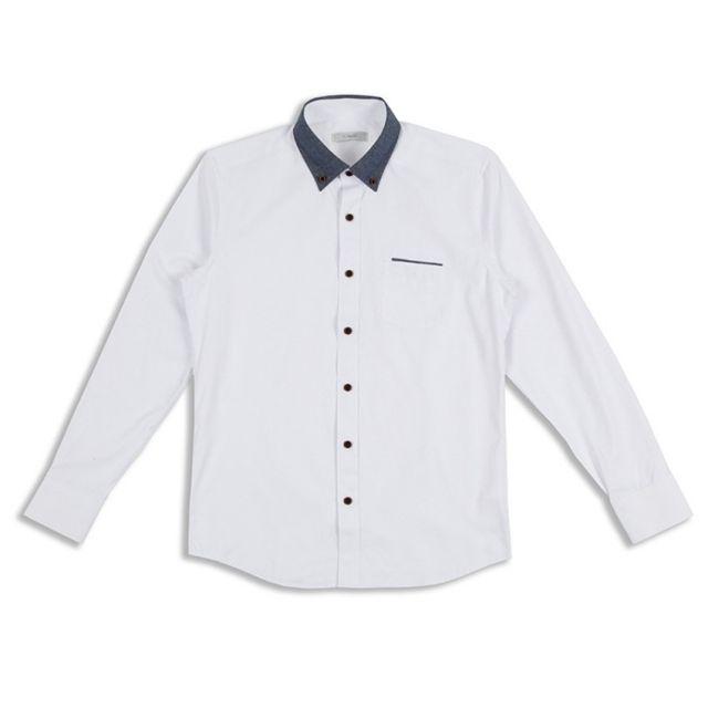킹스맨 남자셔츠 잔무늬 데님 배색 카라 와이셔츠 J0416018