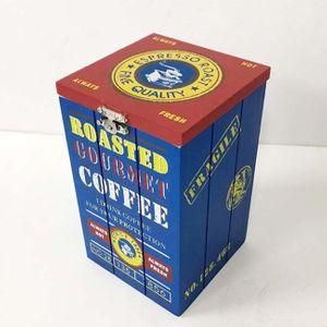 빈티지 인테리어 카페 다용도 우드 박스(블루커피)