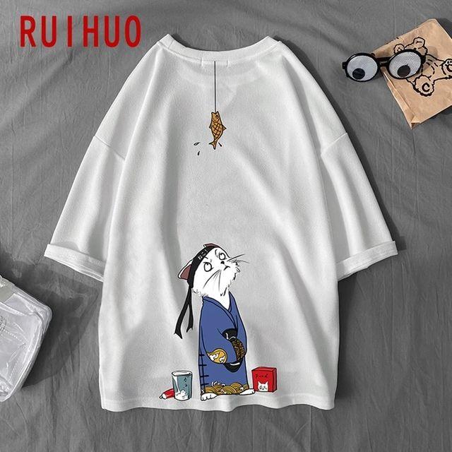 [해외] RUIHUO 고양이 프린트 화이트 T 셔츠 남성 의류 코튼