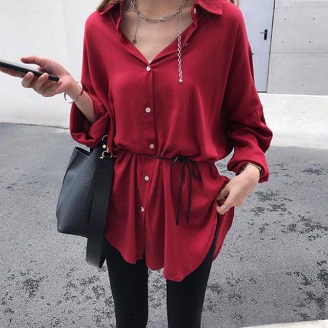 W 허리끈 포인트 여자스러운 외출 패션 셔츠 블라우스