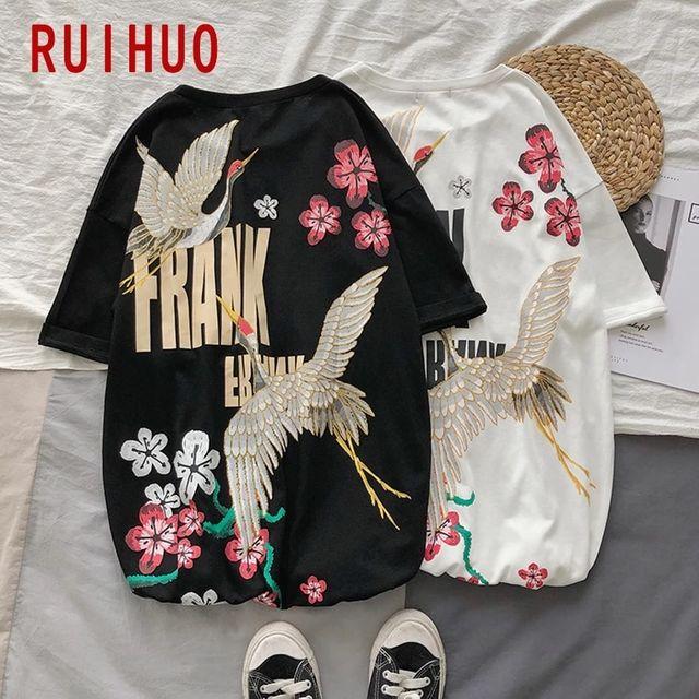 [해외] RUIHUO 크레인 프린트 코튼 T 셔츠 남성 의류 티 셔츠