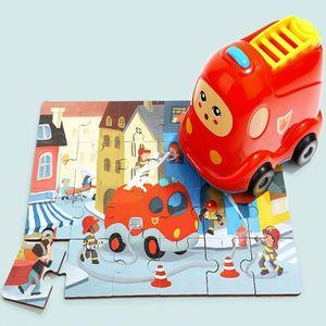 감각 발달 장난감 완구 퍼즐로 배우는 탈것 소방차