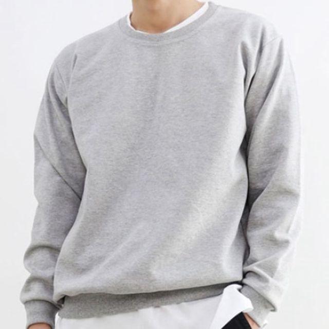 W 남성 맨투맨 티셔츠 4색 캐주얼 남자 무지 티 상의