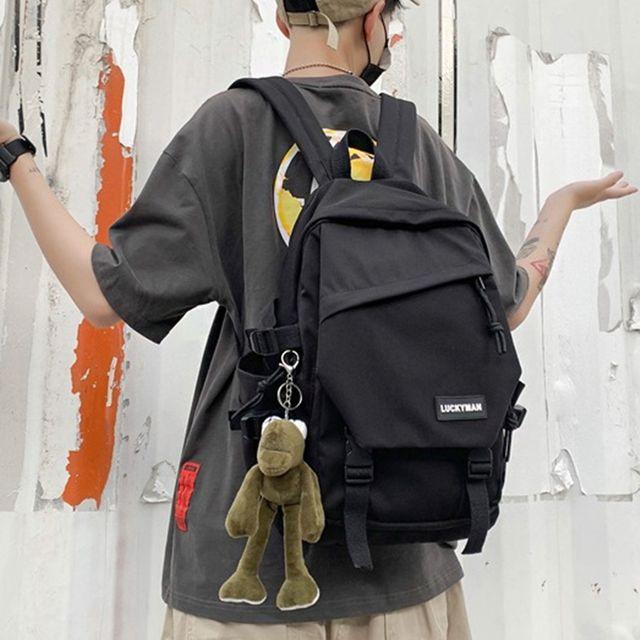 W 키링 캐주얼 백팩 남자 여자 심필 패션 가방