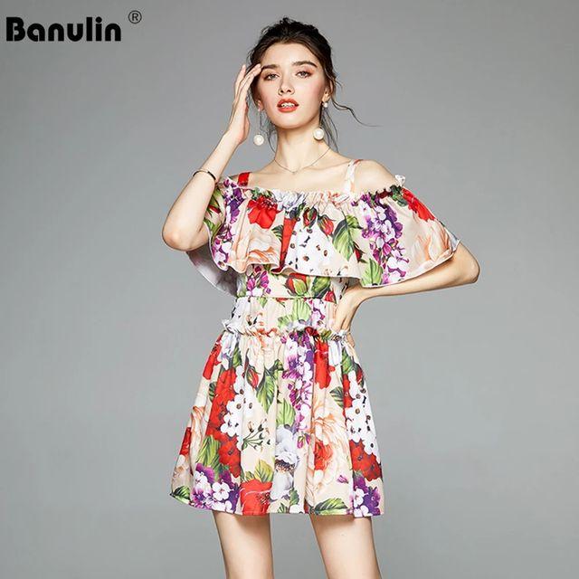 [해외] Banulin 여름 패션 활주로 꽃 비치 짧은 드레스 여성