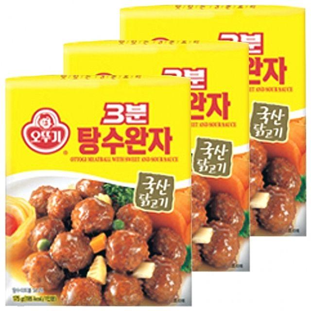 오뚜기)3분 탕수완자 175g x 12개 달콤새콤 소스 국내산 닭고기 쫄깃한 고기맛 파인애플 양파,안주,즉석,레토르트,간편,고기