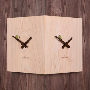 타임데코 편백나무 통원목 코너시계 벽시계