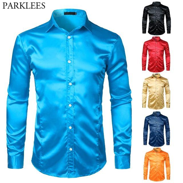 [해외] 부드러운 실크 새틴 슬림 맞는 드레스 셔츠 남성 긴