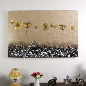 금장펄연꽃특대 캔버스유화 벽걸이 인테리어 그림액자
