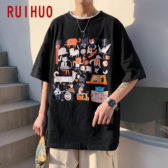 [해외] RUIHUO 블랙 캐주얼 티셔츠 남성 의류 힙합 프린트 티