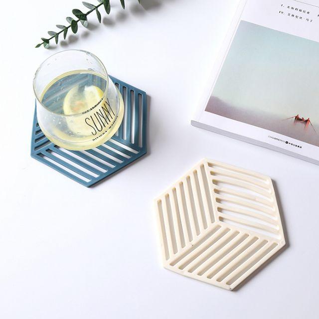 W 다용도 6각 실리콘 냄비 받침 티코스터 테일블 매트