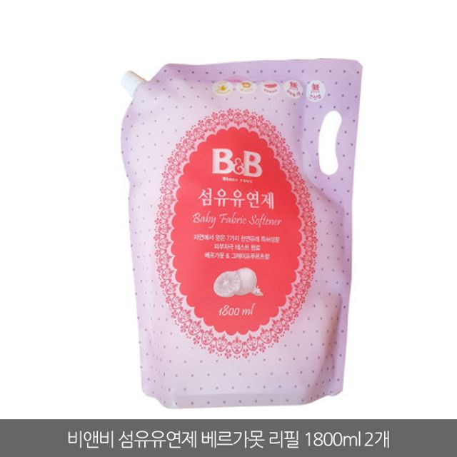 비앤비 섬유유연제 베르가못 캡리필 1800ml 2개 유아