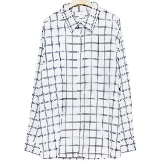 W 남성 체크 셔츠 2색 남자 오버핏 남방 상의 카라티