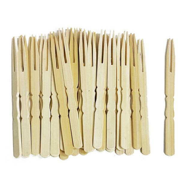 W 대나무 꼬지 미니포크 40개 꽂이 대꽂이 대꼬