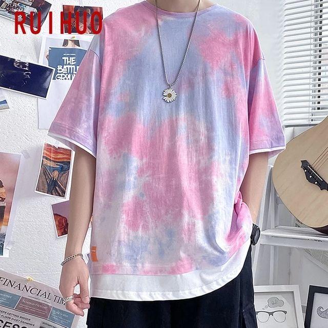 [해외] RUIHUO 핑크 타이 염색 반팔 남성 T-셔츠 패션 Street