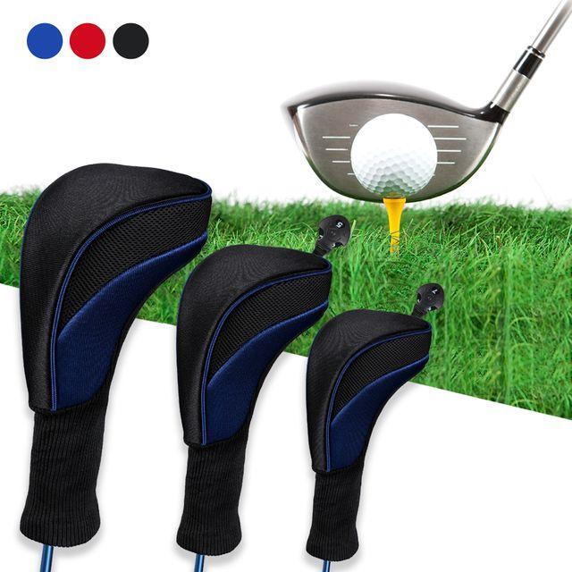 W 키밍 골프 헤드 커버 3종 세트 회전 번호 표시기 클럽