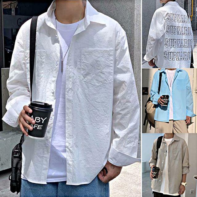 W 남성 가벼운 원단 후면레터링 소매 롤업 남방 셔츠