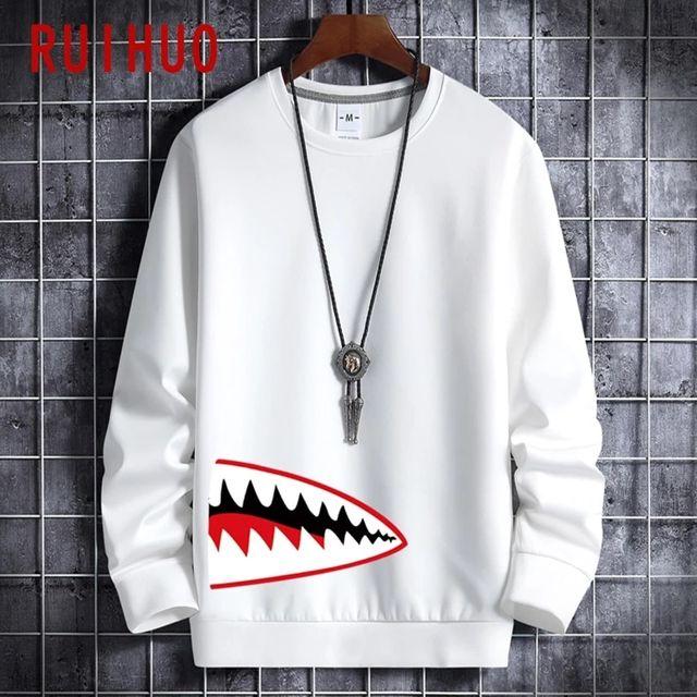 [해외] RUIHUO 상어의 입 프린트 스웨트 남성 의류 일본 Stre